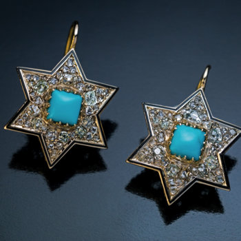 Victorian jewelry - antique star earrings