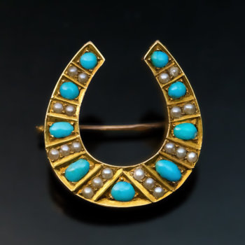 antique turquoise and pearl horseshoe shaped brooch pin