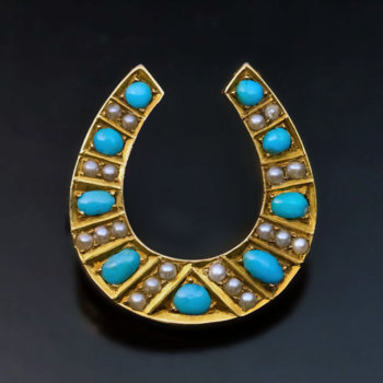 antique Victorian horseshoe shaped turquoise gold brooch pin