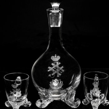 antique wine decanter and cups