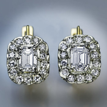vintage emerald cut diamond earrings