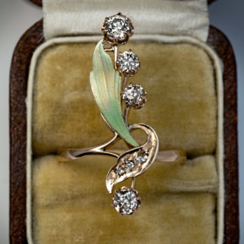 Art Nouveau jewelry - antique enamel diamond gold ring