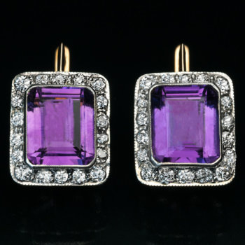 Art Deco earrings - Amethyst and Diamond cluster earrings