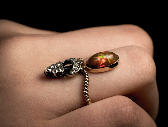 Antique Victorian Opal Diamond Gold Ring Antique Jewelry