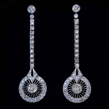 Art Deco earrings - original Deco diamond dangle earrings