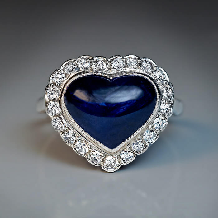 Vintage Heart Shaped Sapphire Diamond Engagement Ring