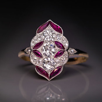 edwardian early art deco diamond ruby unique engagement ring