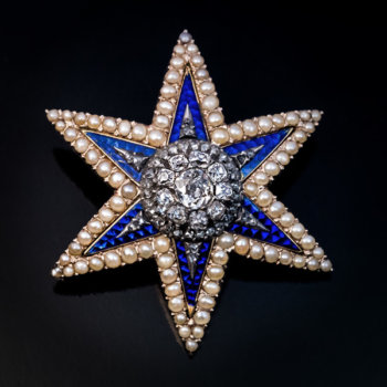 19th century Victorian royal blue guilloche enamel, diamond and pearl star shaped brooch - pendant