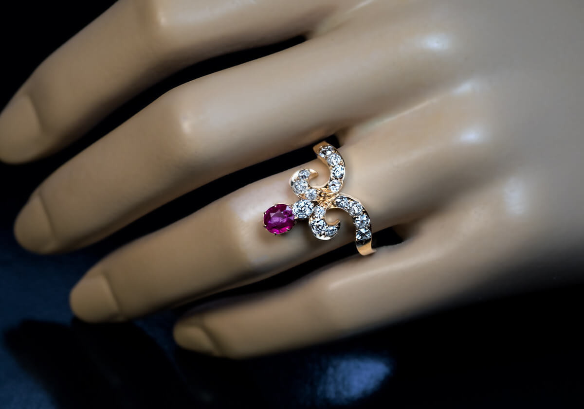 Belle Epoque Antique Tiara-Shaped Ruby Diamond Ring - Antique ...