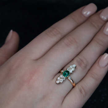 antique cabochon emerald diamond ring