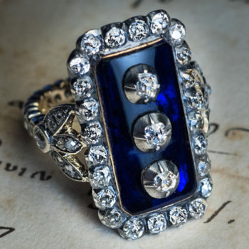 Georgian blue glass diamond ring