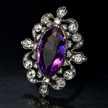 antique Victorian amethyst diamond ring