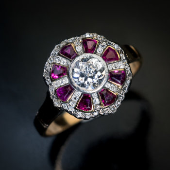 Art Deco diamond ruby engagement ring