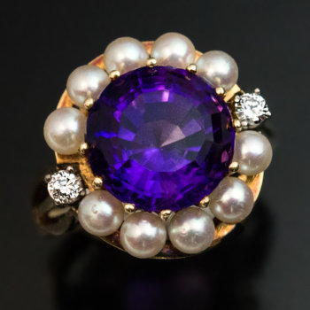 vintage amethyst pearl diamond gold ring