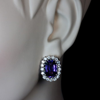 antique amethyst diamond cluster earrings
