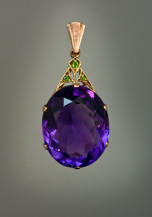 Vintage amethyst jewelry art deco siberian amethyst pendant an art deco siberian amethyst demantoid garnet and rose gold pendant necklace mozeypictures Gallery