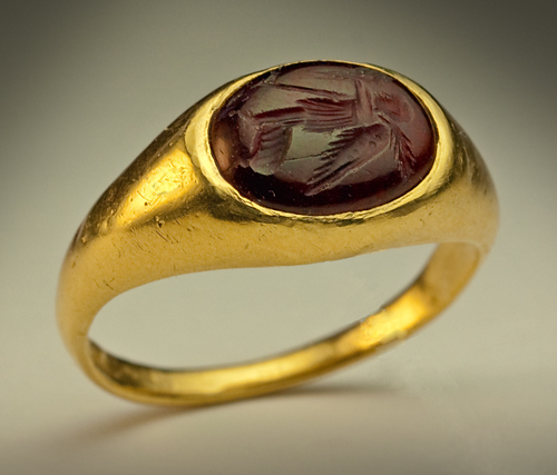 Ancient Intaglio Signet Gold Ring Hellenistic Greek Wedding