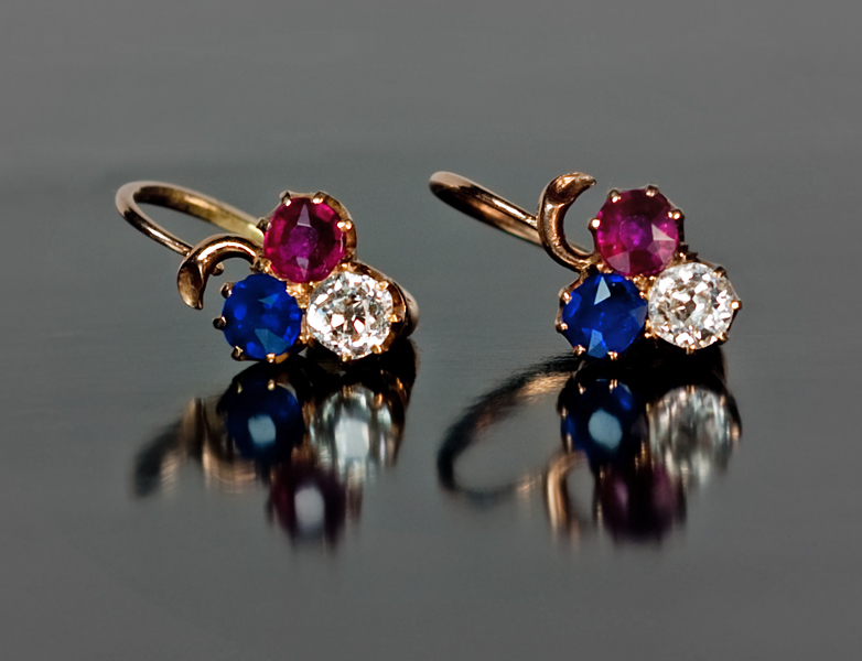 ANTIQUE RUSSIAN Diamond, Ruby, Sapphire Gold Earrings c ...