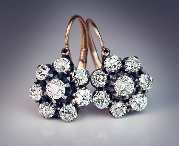 Antique Silver Topped Gold Diamond Cluster Earrings ...