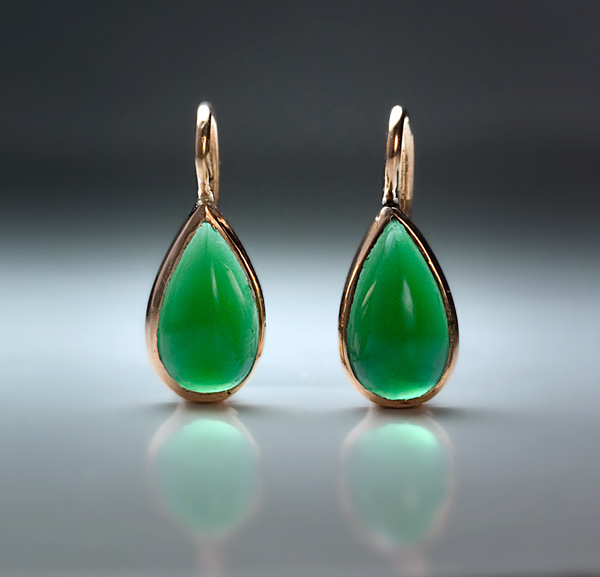 Antique Drop Shaped Earrings Gold Mounted Green Chrysoprase