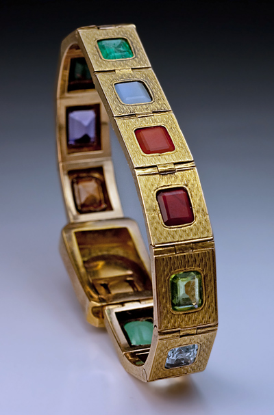 Multi Gem Gold Bracelets Antique Russian Multi Gemstone