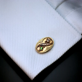 antique Art Nouveau Russian demantoid diamond gold cufflinks