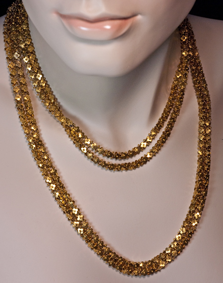 Antique Gold Chain Necklace Double Row Antique Long Gold Chain