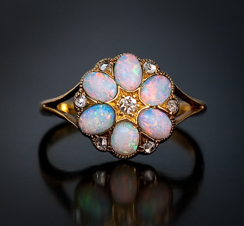 Antique Opal and Diamond Ring | Antique and Vintage Opal Jewelry