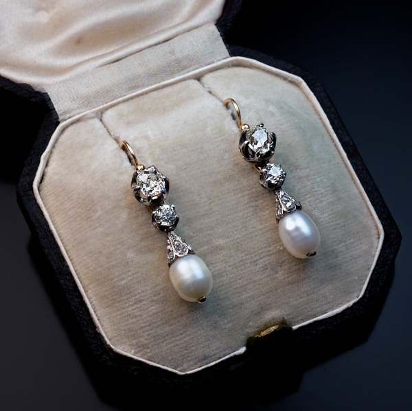 Antique Natural Pearl And Diamond Earrings