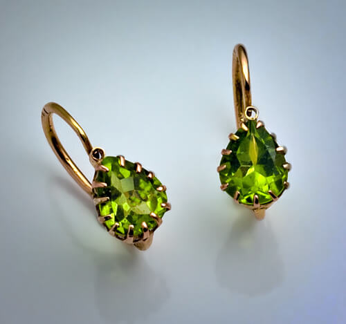 Antique And Vintage Earrings Russian Peridot Rose Gold