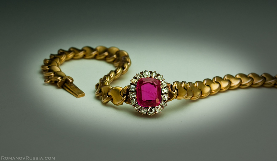Antique Russian Gold Diamond and 2 Ct Ruby Bracelet Antique
