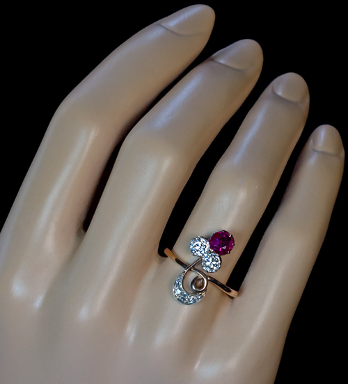 Ruby and Diamond Flower Ring Antique Jewelry Vintage Rings
