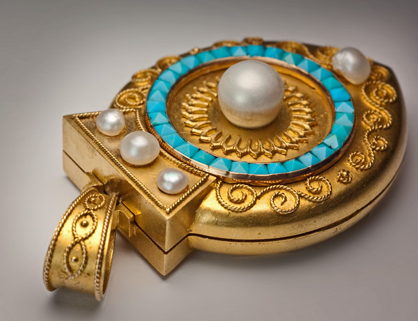 Archaeological Revival Victorian Turquoise Pearl Gold