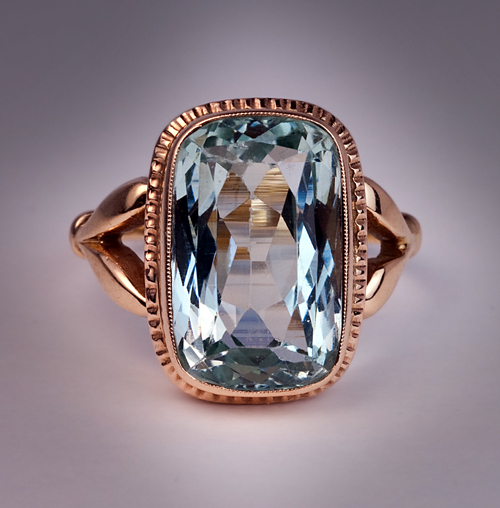 Antique Russian 9 Ct Aquamarine Ring Antique Jewelry