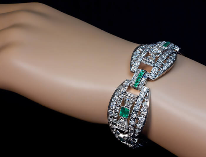 Art Deco Diamond Emerald Platinum Bracelet C 1915