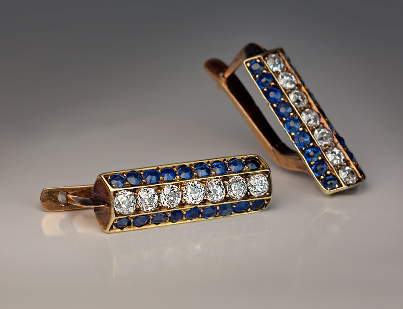 Art Deco Vintage Shire And Diamond Gold Earrings