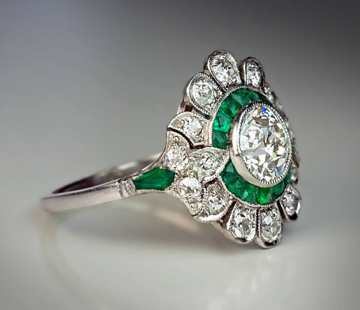 Original Art Deco Diamond Emerald Engagement Ring Antique Jewelry