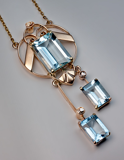 Art Deco Vintage Aquamarine Pendant Necklace Antique