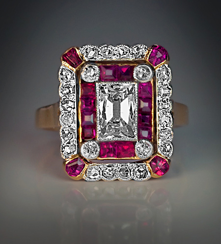 Belle Epoque Jewelry Diamond And Ruby Ring C 1910
