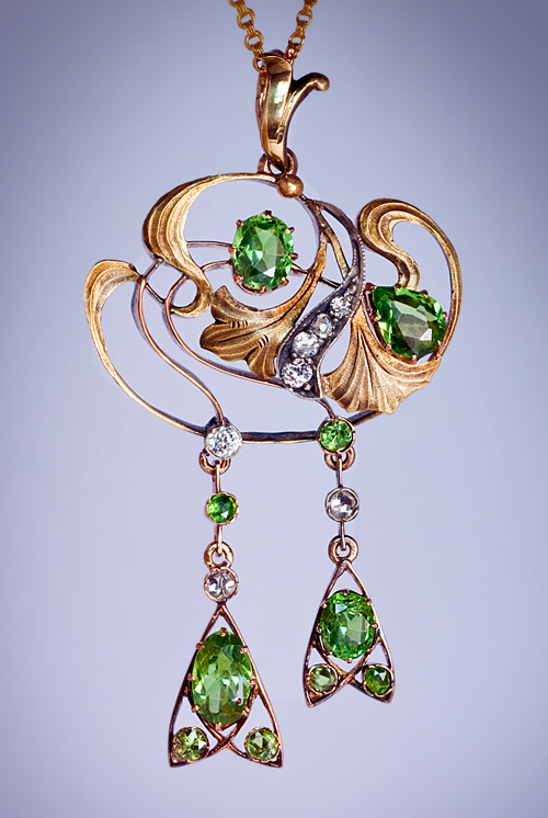 art nouveau antique russian demantoid diamond gold