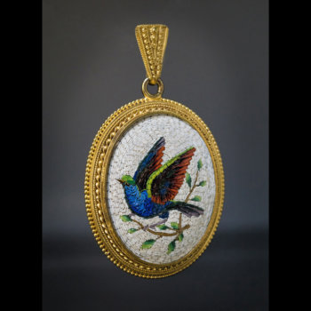 antique bird of paradise Italian 19th century micromosaic pendant