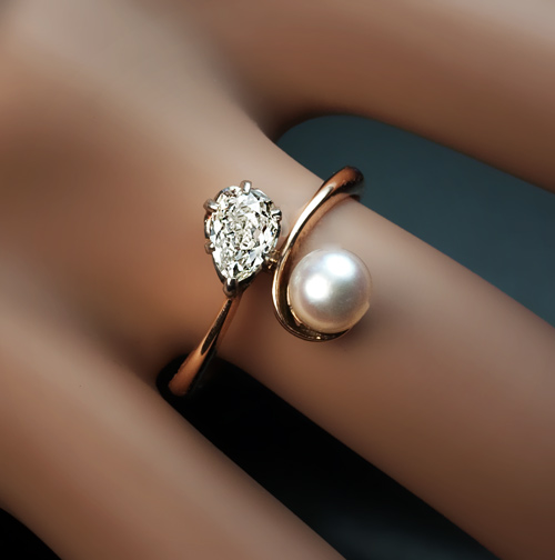 engagement pearl jewellery pin gold rose artestic rings ring