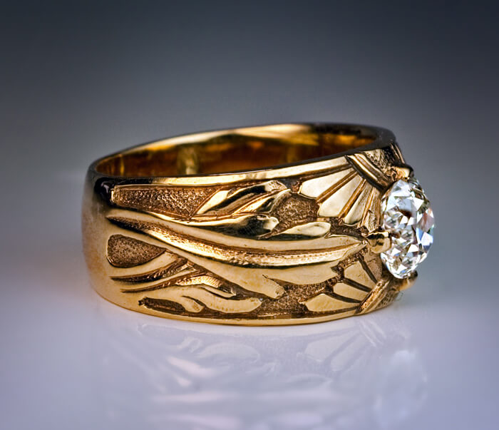 1 10 Ct Diamond Chased Gold Russian Unisex Ring 1910s