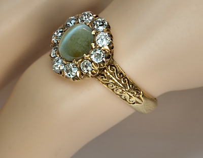 Cat S Eye Chrysoberyl And Diamond Cluster Ring C 1880