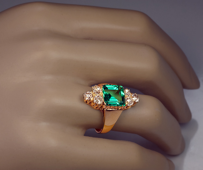 Certified 250 Ct Colombian Emerald Old Cut Diamond Ring Antique