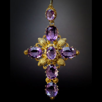 antique gold cannetille work and amethyst cross pendant Georgian jewelry