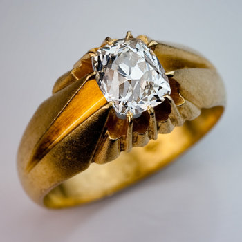 antique ring with a D color old cushion cut diamond