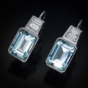 Art Deco vintage aquamarine and diamond earrings