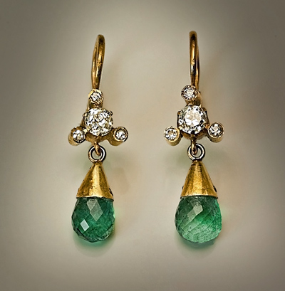 Emerald And Diamond Pendant Earrings Vintage Briolette