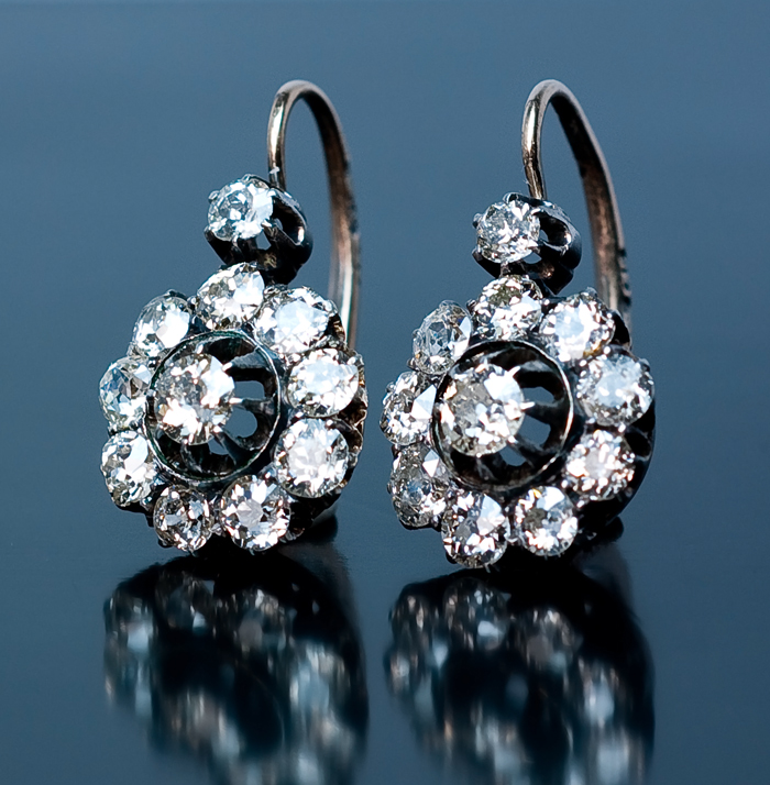 Antique Russian Imperial Era Diamond Cer Earrings